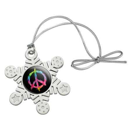 Tie Dye Peace Sign Metal Snowflake Christmas Tree Holiday Ornament - Tie Dye Peace Sign Tattoos