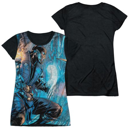 Mortal Kombat Girls (Mortal Kombat - Kombat Comic - Juniors Teen Girls Black Back Sleeve Shirt -)