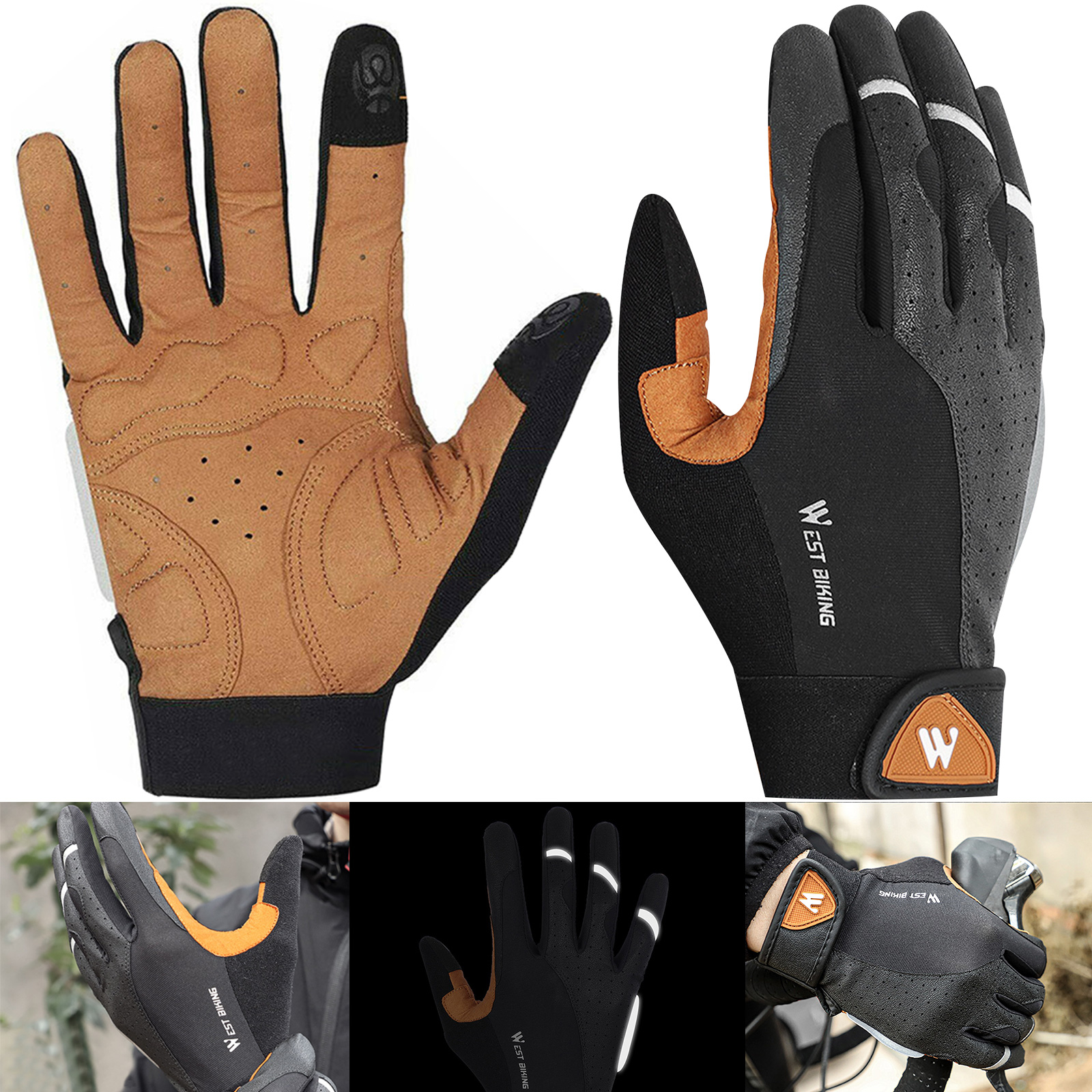 Details about  /Cycling gloves shock absorption anti-slip outdoor full-finger touch screen glove