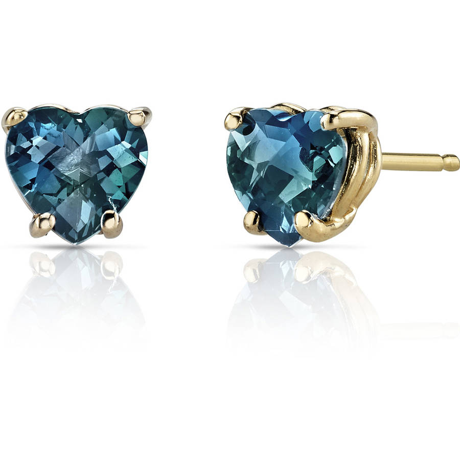 Oravo 2.00 Carat T.G.W. Heart-Shape London Blue Topaz 14kt Yellow Gold Stud Earrings