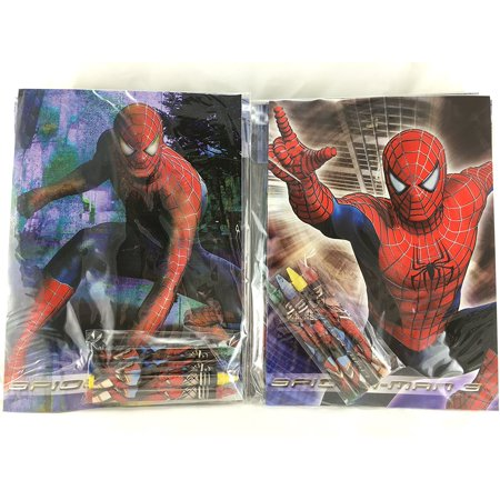 Party Favors Spiderman Coloring Book & Crayon Set 12 Pack ( Assorted Style)](Spiderman Coloring Book)