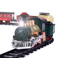 Kids Battery Operated Electric Railway Train Set for Play, Christmas Decoration, with Sounds and Lights