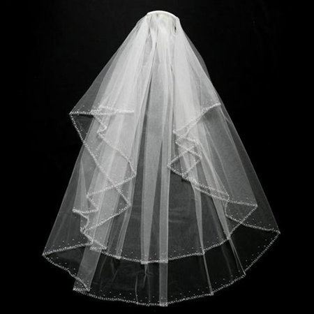 Veil Headpiece (Womens Fingertip Length Beaded Bridal Veil Headpiece Accessory )