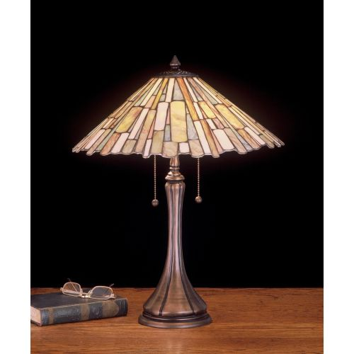 Meyda Tiffany 52158 Stained Glass / Tiffany Table Lamp from the Scroll Jadestone Collection