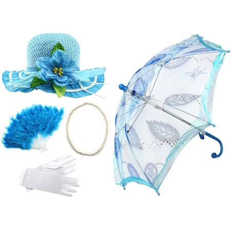 Enimay Girl's Costume Tea Party Set Fan Hat Necklace Umbrella Gloves Blue](Tea Party Hats And Gloves)