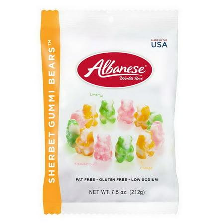 (Price/CASE)Albanese World's Best 53329 Sherbet Gummi Bears Peg Bag 7.5 ounce Bag - 12 Per