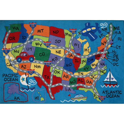 Fun Rugs Fun Time Travel Fun Rectangle Rug, Multi-Color