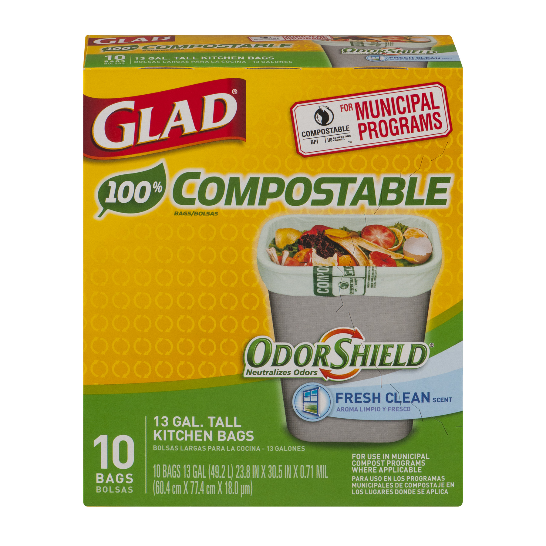 Glad 100% Compostable OdorShield Fresh Clean Tall Kitchen Trash Bags, 13 gallon, 10 count