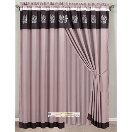 Woven Paisley Scroll - 4-Pc Floral Paisley Scroll Embroidery Curtain Set Purple Lilac Off-White Valance Drape Sheer Liner