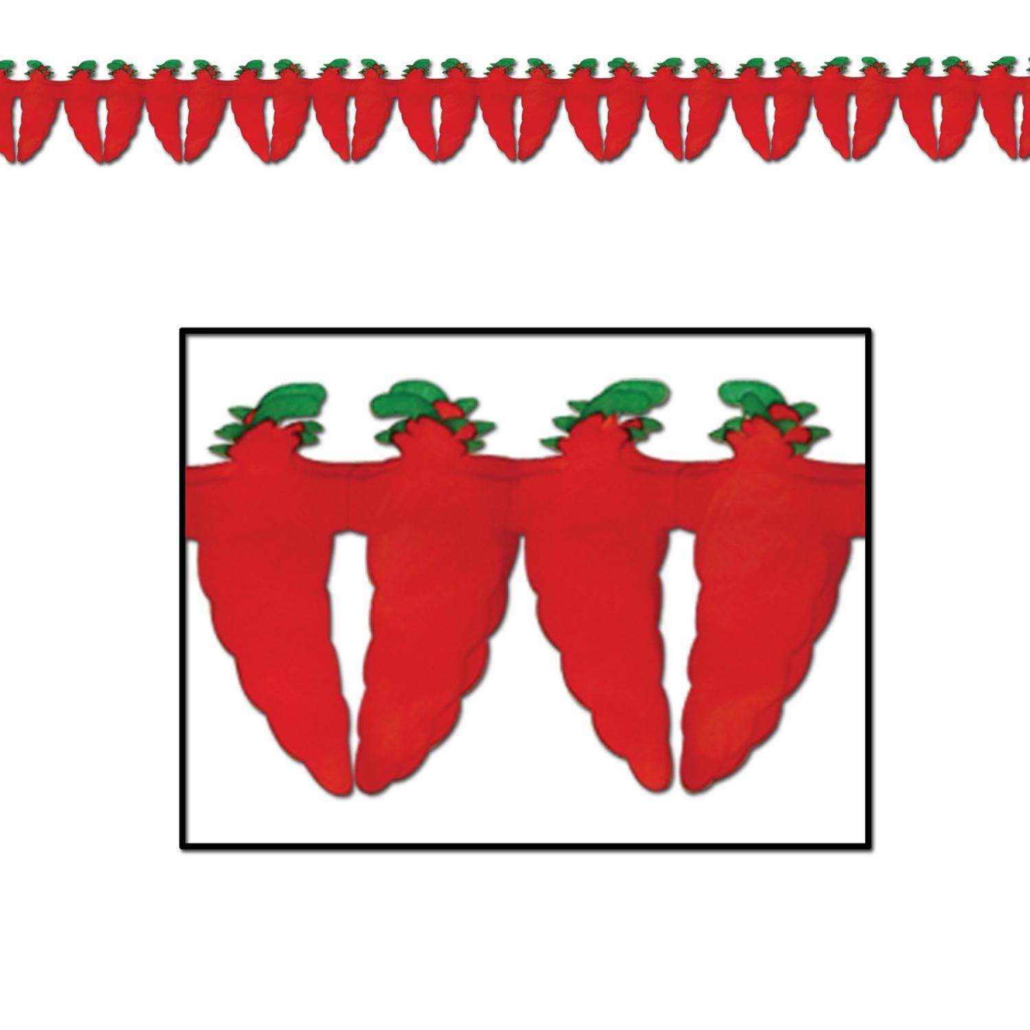 "Pack of 12 Fiery Red Hot Chili Pepper Garland Decorations 5.5"" x 12'"