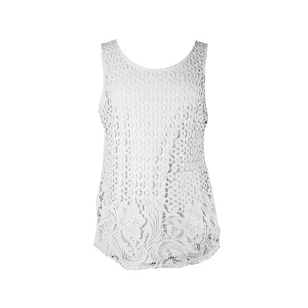 Charter Club  Vintage Cream Sleeveless Mixed Lace-Front Tank S