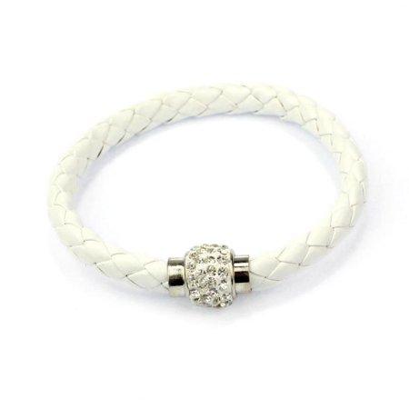 - Mosunx Wristband Magnetic Rhinestone Buckle Leather Wrap Bracelet Bangle