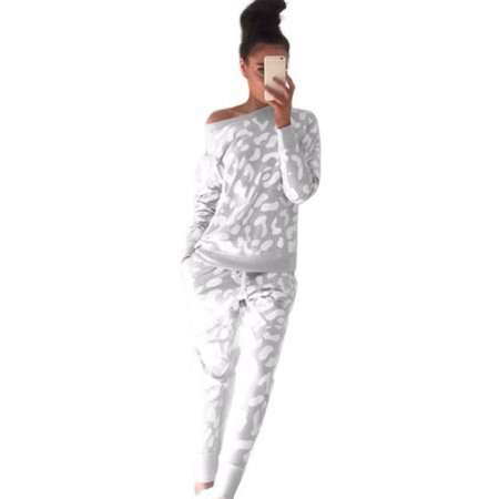 Women 2Pcs Tracksuit Hoodies Sweatshirt Pants Set Casual Jogging Gym Sport Suit