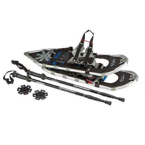 All Terrain Aluminum Snowshoes w  Carry Bag and Trekking Poles (30 in. X-Large) by