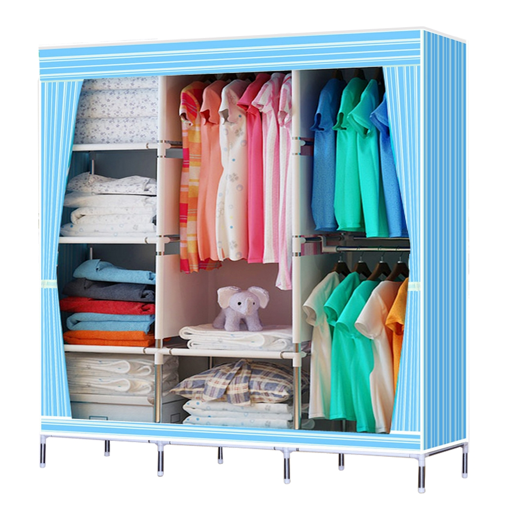"49"" Portable Closet Storage Organizer Wardrobe Clothes Rack With Shelves"