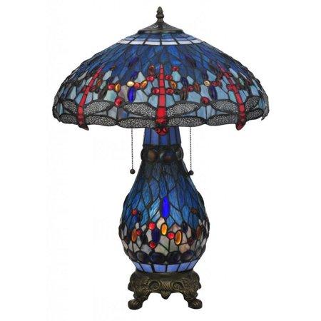 Mahogany 2 Light (Meyda Tiffany - 118840 - Two Light Table Lamp - Tiffany Hanginghead Dragonfly - Mahogany Bronze )