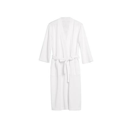Uarter Men Women Robe Waffle Weave Bathrobe Couple Bath Robes Practical Night-robe for Spring and Summer, White,