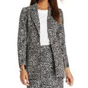 Kasper NEW Black Ivory Printed Women's Size 12 Notch Collar Career Jacket
