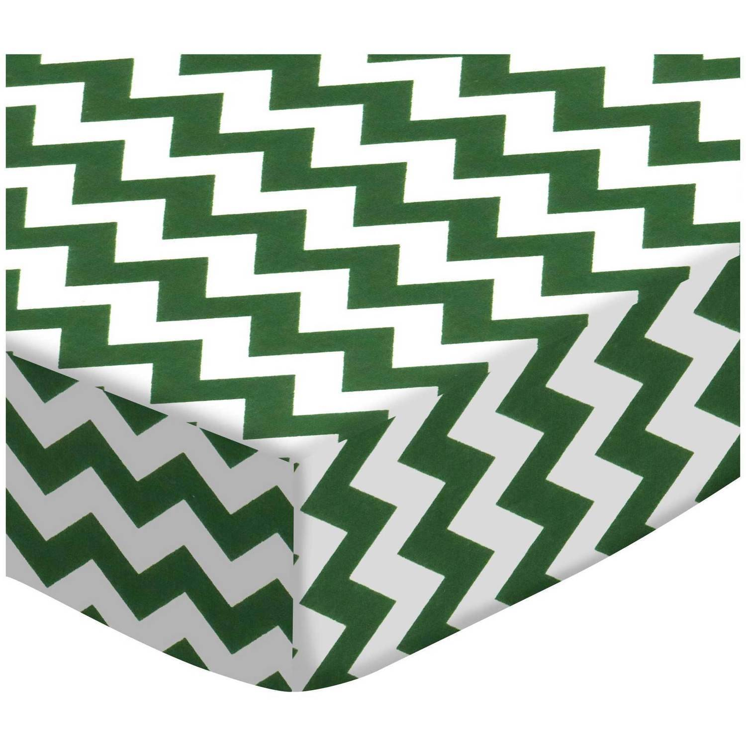 SheetWorld Fitted Pack N Play (Graco Square Playard) Sheet - Hunter Green Chevron Zigzag