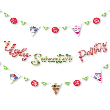 Wild and Ugly Sweater Party - Holiday & Christmas Animals Party Decor - 36 Cutouts & Ugly Sweater Party Banner Letters (Letter Cutouts)