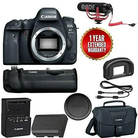 Canon EOS 6D Mark II Wi-Fi Digital SLR Camera Body with BG-E21 Battery Grip Rode + VMGO + Canon 100ES Bag +