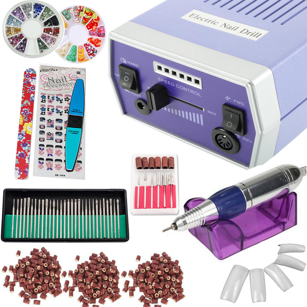 iMeshbean Colorful Complete Professional Electric Nail File Drill Machine Art Bits Acrylic Manicure Pedicure Beauty DIY Kit USA (Model10-Blue)