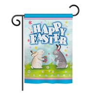"Ornament Collection - Happy Easter Bunnys Lovely Egg Spring - Seasonal Easter Impressions Decorative Vertical Garden Flag 13"" x 18.5"" Printed In USA"