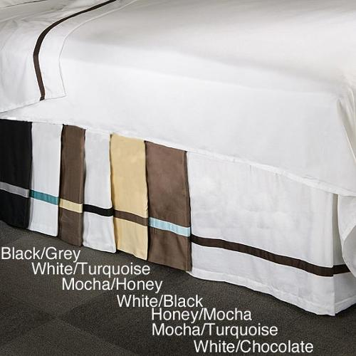 Hotel Collection 15-inch Drop 3-side Bedskirt Twin white/turquoise