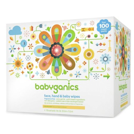 Babyganics Face, Hand, & Baby Wipes, Unscented, 400 Ct