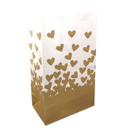 Pack of 24 Elegant White and Gold Heart Wedding Luminaria Bags 11