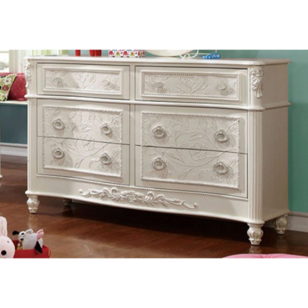 Voguish And Chic Wooden Dresser In Fairy Tale Style With Floral Carved Motif, White