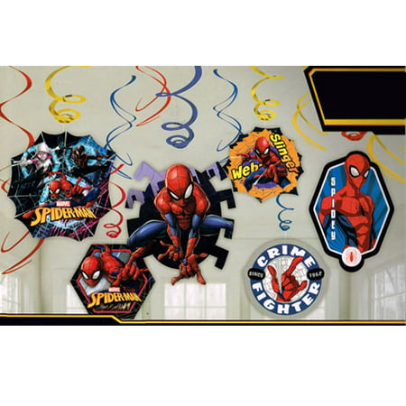 Spider-Man 'Webbed Wonder' Hanging Swirl Decorations (12pc)