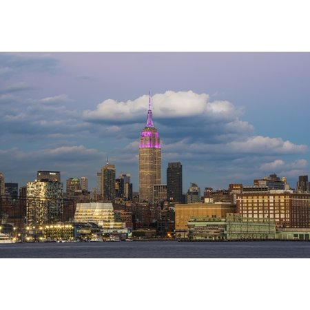 Empire State Building at sunset with colour honouring the Cupus Foundation of America New York City New York United States of America Canvas Art - F M Kearney  Design Pics (19 x