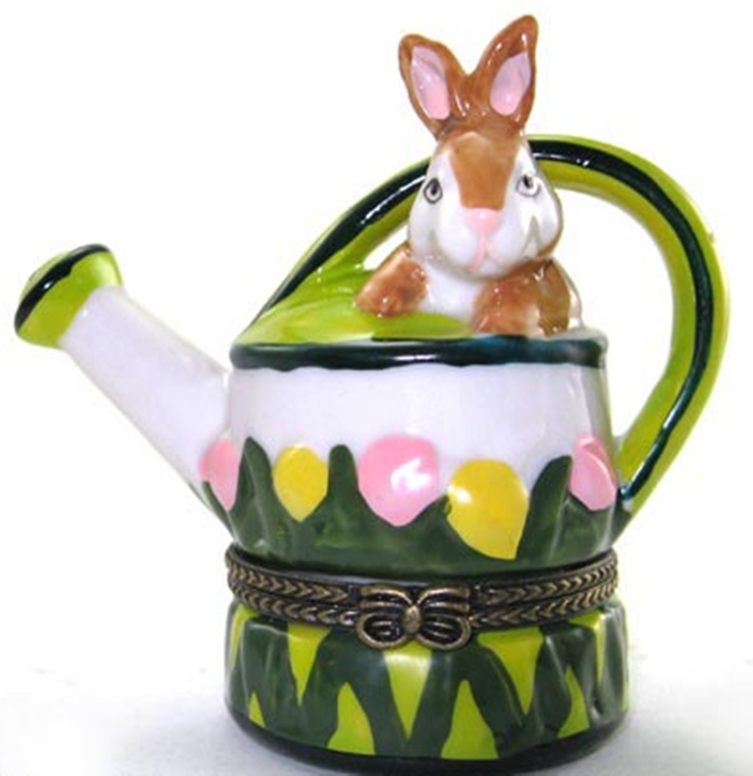 Bunny Garden Watering Can Hinged Trinket Box phb by Art Gifts