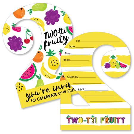 TWO-tti Fruity - 2nd Birthday - Shaped Fill-In Invitations - Frutti Summer Second Birthday Party Invitation-12 Ct (Barnyard Birthday Invitations)
