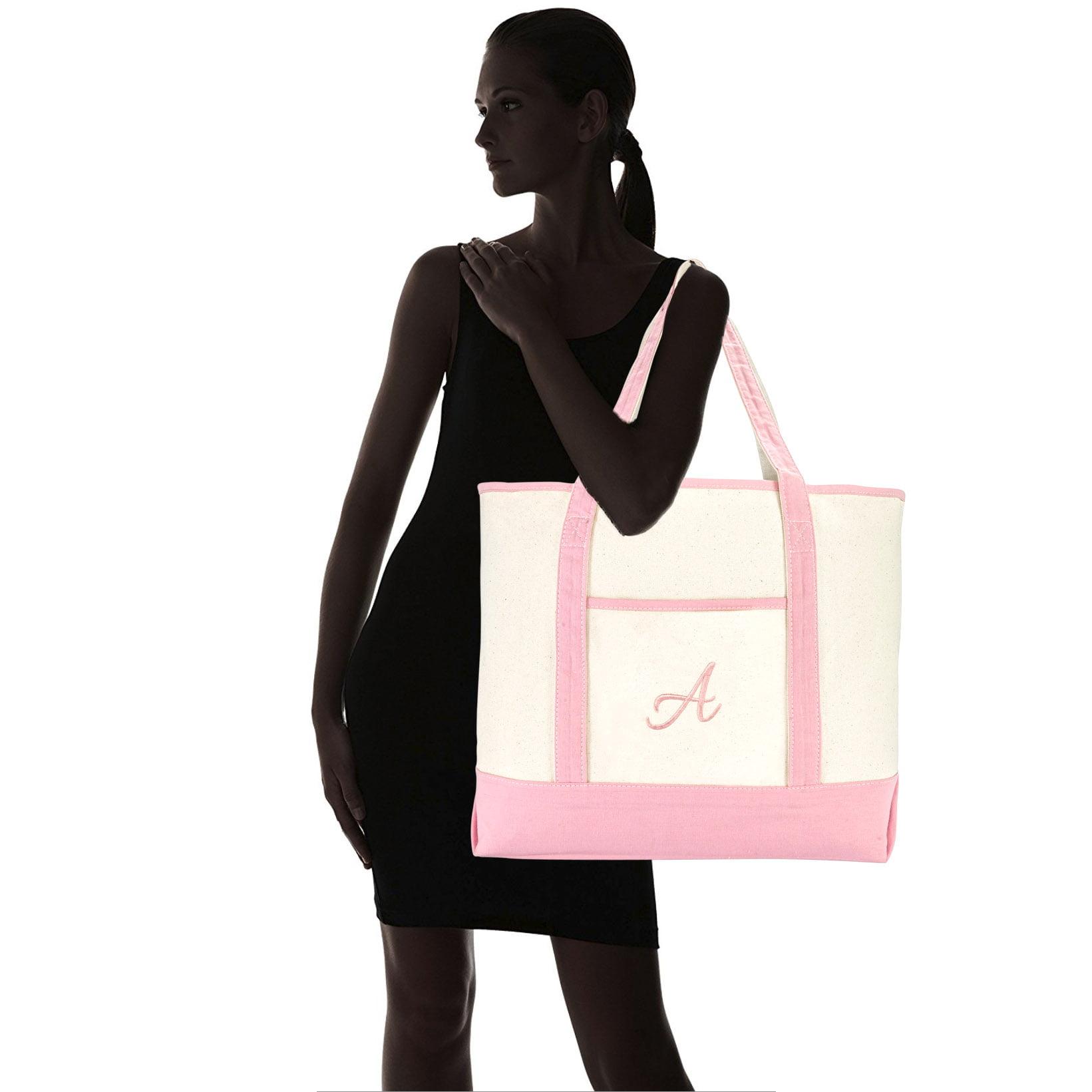 4f231a246b DALIX Women s Cotton Canvas Tote Bag Large Shoulder Bags Pink Monogram S -  Walmart.com