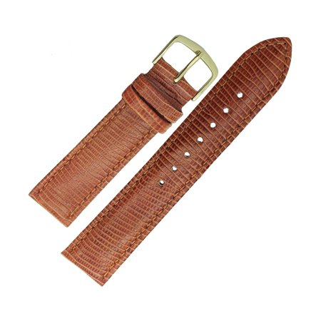 Hadley Roma MS716 18mm Mens Brown Calfskin Lizard Grain Leather Watch Strap Band ()