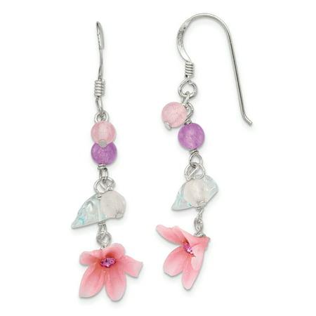 - 925 Sterling Silver Amethyst/agate/blue Topaz Flower Drop Dangle Chandelier Earrings Gardening For Women