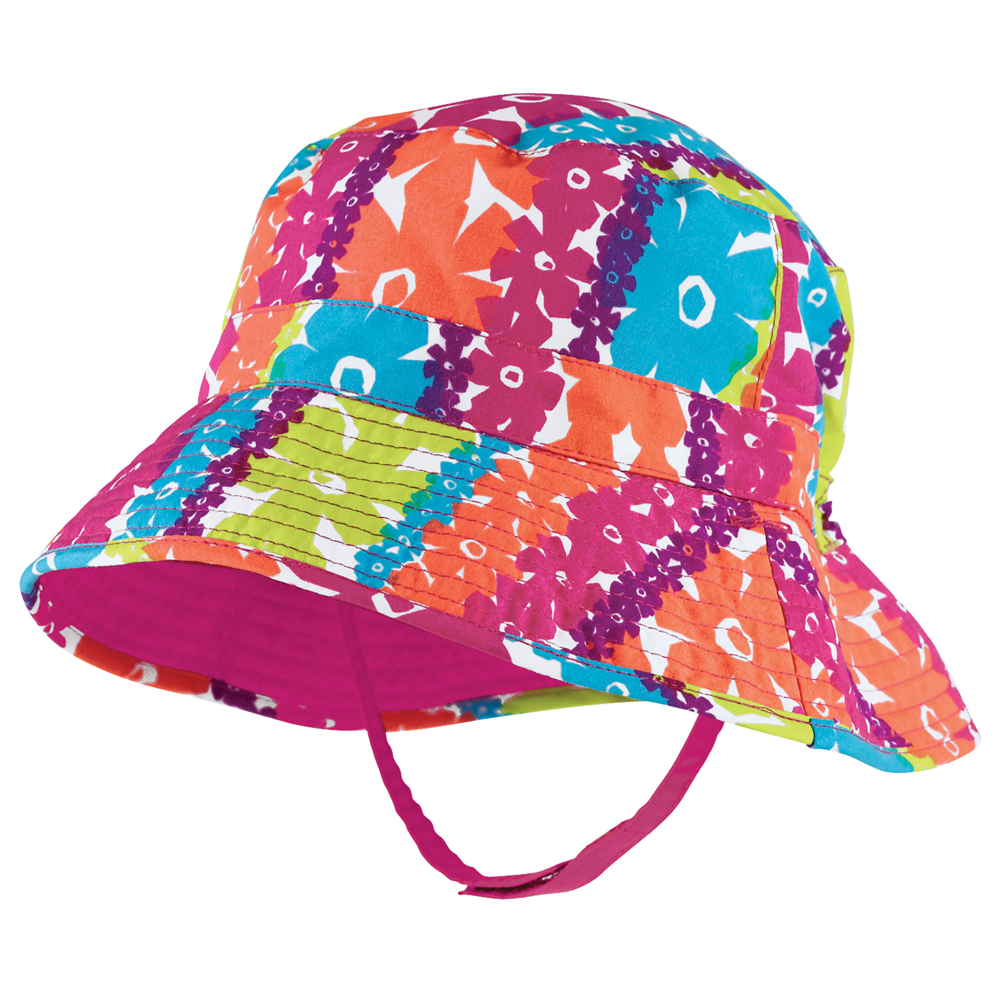 f52e4256e6 Sun Smarties - Sun Smarties Baby Girl Sun Hat - Pink Red Orange Floral  Design - UPF 50+ Sun Protection Bucket Hat - Walmart.com
