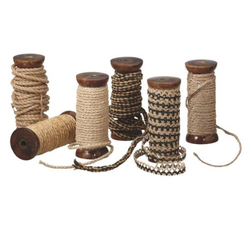 Set of 6 Versatile Natural Woven Wool Twine Spools - 30 Yards