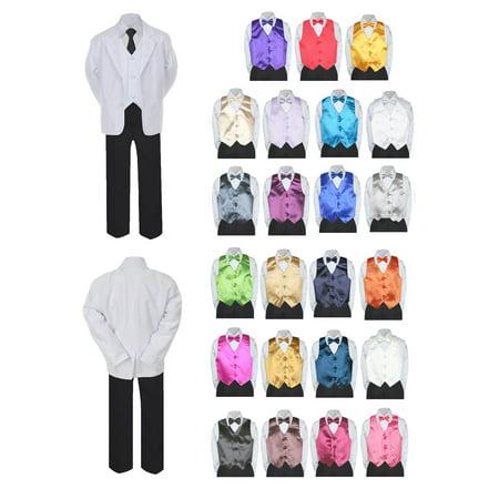 91f54bf292ea UNOTUX - 7pc Boy Formal Necktie Black White Suit Set Satin Bow Tie ...