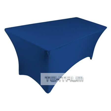 TEKTRUM 6 FT LONG RECTANGULAR STRETCH TABLECLOTH DJ JACKET COVER FOR TRADE SHOW - PREMIUM FABRIC  - BLUE - Stretch Table Cloth
