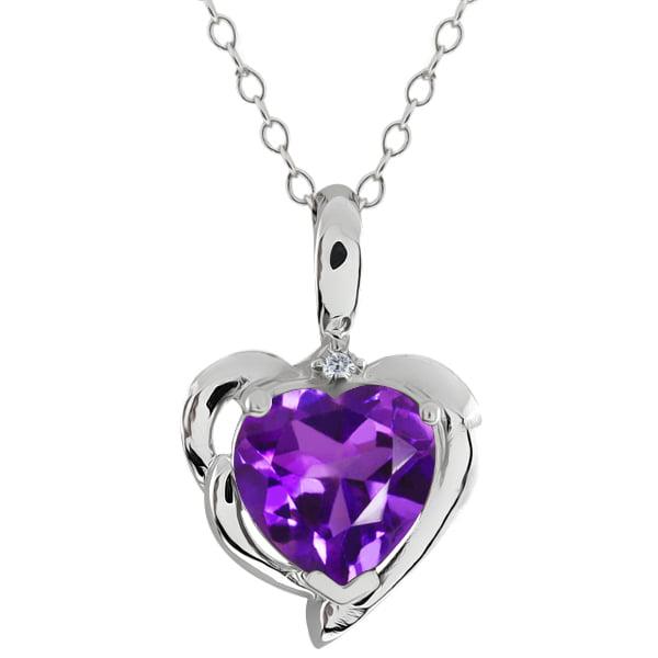 1.62 Ct Heart Shape Purple Amethyst White Diamond 925 Sterling Silver Pendant