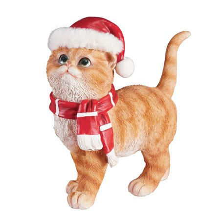 Tabby Cat Statue with Santa Hat and Scarf - Whimsical Holiday Decoration