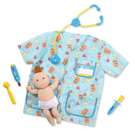 Melissa & Doug Pediatric Nurse Role Play Costume Set (8 pcs) - Includes Baby Doll, Stethoscope - Pirate Costume Melissa And Doug