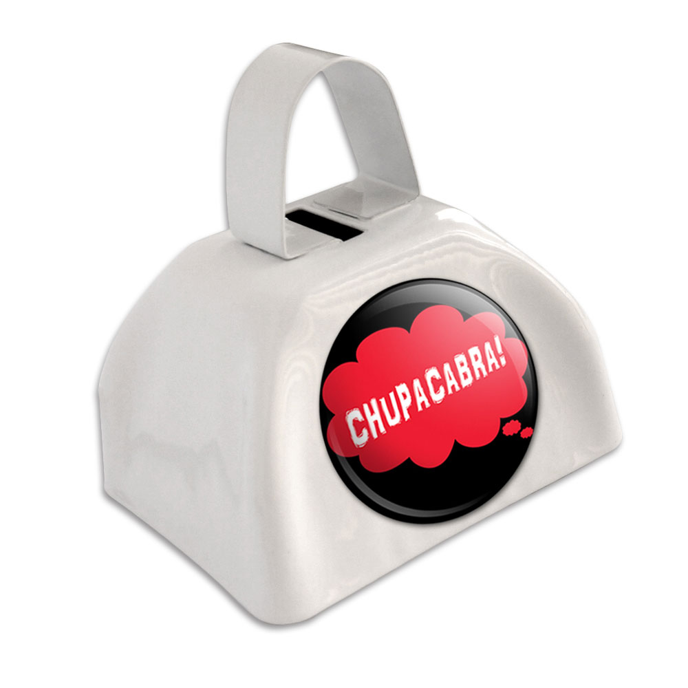 Dreaming of Chupacabra Red White Cowbell Cow Bell by Graphics and More