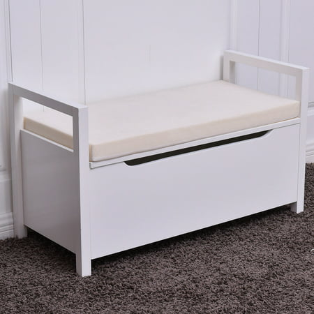 Costway Shoe Bench Storage Rack Cushion Seat Ottoman Bedroom Hallway Entryway White ()