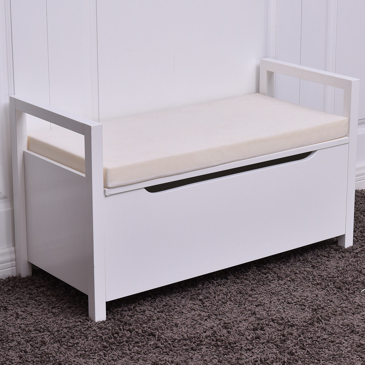 Merveilleux Product Image Costway Shoe Bench Storage Rack Cushion Seat Ottoman Bedroom  Hallway Entryway White