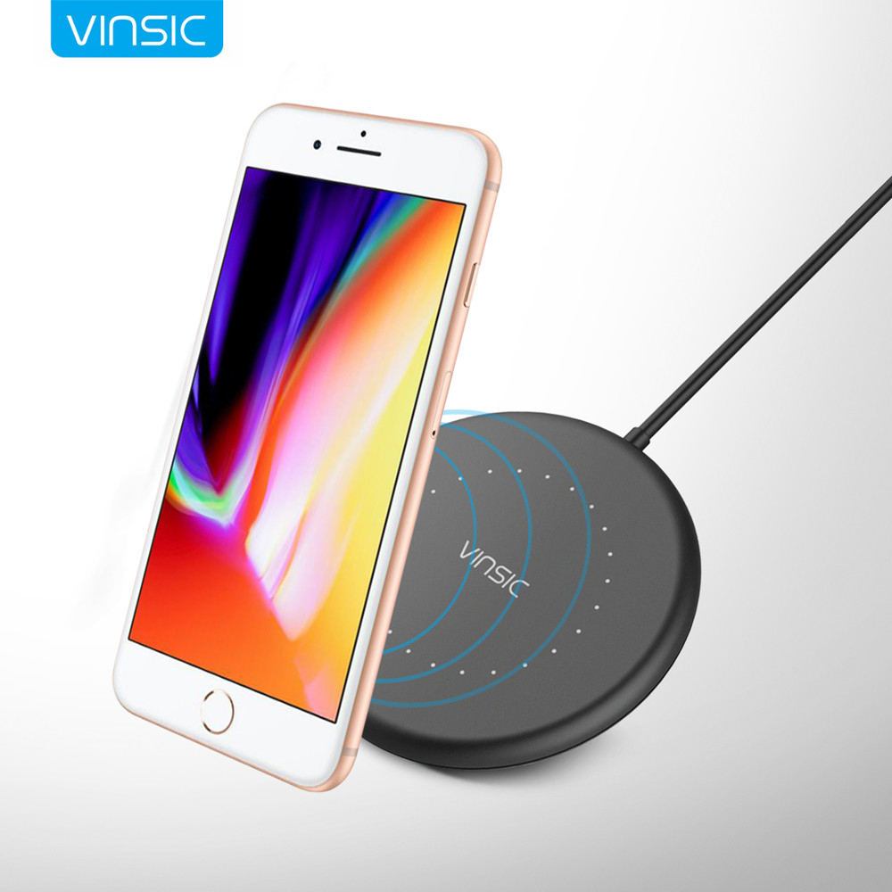 Newest Vinsic Mini W14 Qi Wireless Charger Charging Pad for iPhone 8/8+ iPhone x Samsung Galaxy S7 S6 Edge Note 5 Qi enable Smartphone