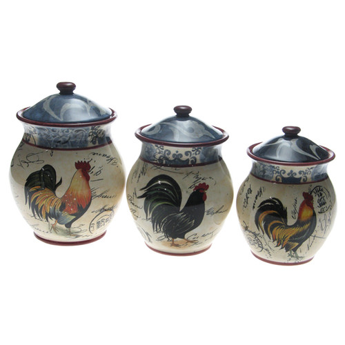 Certified International Lille Rooster by Geoffrey Allen 3 Piece Storage Jar Set